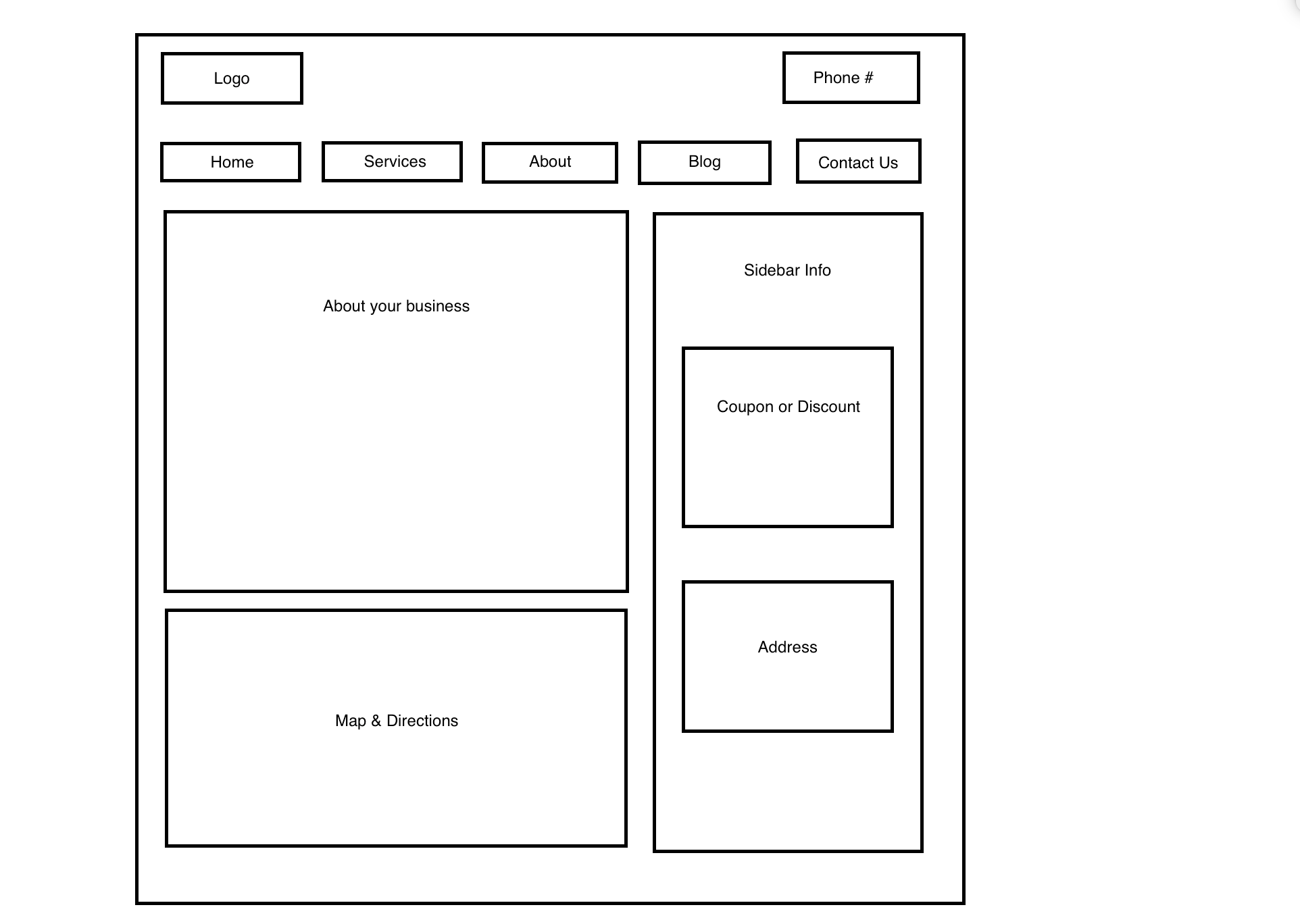 local business website layout